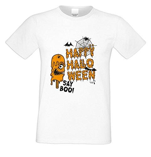 Grusel T-Shirt Herren Fun-Motiv Happy Halloween Geschenkidee Geburtstagsgeschenk Hexen Gespenster Geister Farbe: weiss Weiß