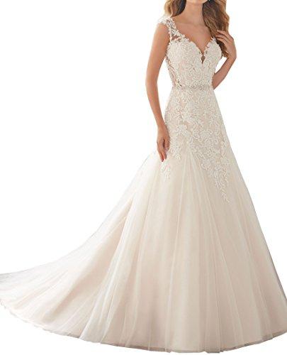 Changjie Damen V-Ausschnitt A-Linie Spitze Applique 2018 Brautkleider Hochzeitskleider
