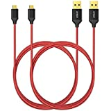 [Pack de 2] Câbles micro USB de 180 cm en nylon tressé Anker® anti-emmêlement, avec connecteurs plaqué or, pour téléphones Android, Samsung, HTC, Nokia, Sony et autres