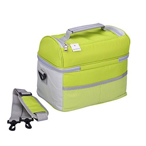 Borsa Termica Porta Pranzo Borsa Frigo Isolata - Tyidalin Tote Termico Cerniera Cooler Bag Sacchetto per Picnic, Viaggio, Scuola e Lavoro Verde