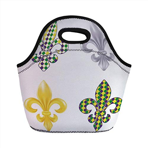 Portable Bento Lunch Bag,Mardi Gras,Fleur De Lis Motifs with Mardi Gras Pattern Traditional Lily Flowers Collection,Multicolor,for Kids Adult Thermal Insulated Tote Bags Fleur Thermal