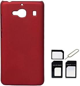 Tidel Stylish Rubberized Plastic Back Cover For Xiaomi Redmi 2s ( Red ) With Micro/Nano Sim Adapter