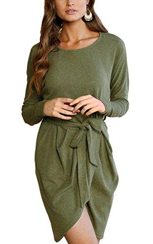 ECOWISH Damen Rundhals Kleid Beiläufiges Langarm Minikleid T-Shirt Kleid Mit Gürtel, Armeegrün, EU XL(40)