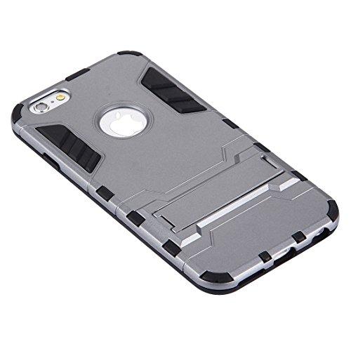 Pour iPhone 6 / 6s, Housse combinée TPU + PC séparable avec support JING ( Color : Rose gold ) Grey