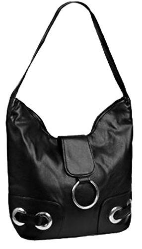 EyeCatchBags - Provence Handtasche Schultertasche aus Kunstleder Schwarz