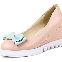 ZQ gyht Zapatos de mujer-Tacón Cuña-Cuñas / Plataforma / Comfort / Punta Redonda-Mocasines-Exterior / Vestido / Fiesta y Noche-Semicuero-Rosa / , pink-us8 / eu39 / uk6 / cn39 , pink-us8 / eu39 / uk6 / cn39
