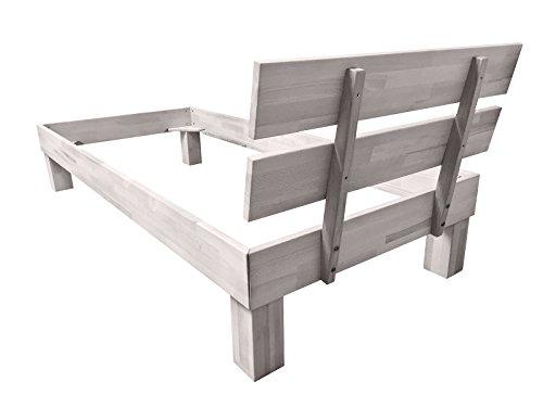 SAM® Massiv-Holzbett Jessica in Buche weiß, Bett mit geteiltem Kopfteil, natürliche Maserung, massive widerstandsfähige Oberfläche in edlem Weißton, 120 x 200 cm - 4