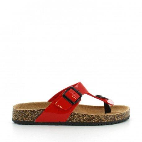 Ideal Shoes - Nu-pieds vernis style orthopédique avec ceinturon Konrad Rouge
