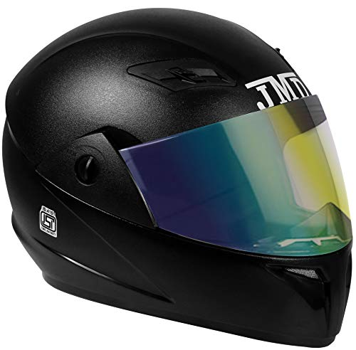 JMD Helmets Trusty Full Face Helmet with Mirror Visor (Black, L)