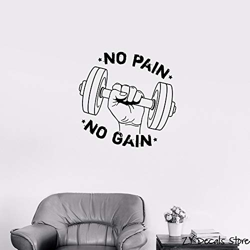 ing Motivation Sportsman Vinyl Wall Sticker No Pain No Gain Quotes Wall Decals For Gym56x56cm ()