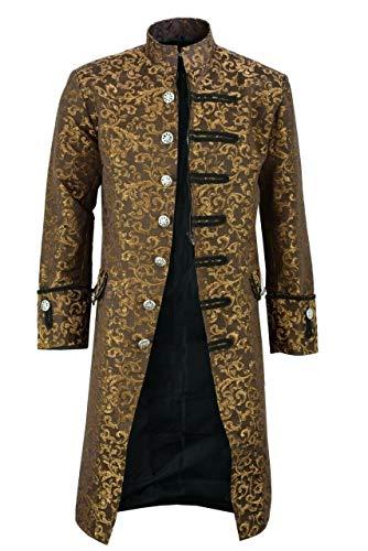 Shujin Herren Vintage Steampunk Gothic Jacke Frack Jacke Viktorianischen Langer Mantel Military Coat Cosplay Kostüm Smoking Jacke - Military Jacke Für Erwachsene Kostüm