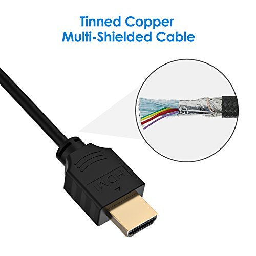 Rankie HDMI 2.0 Cable, High-Speed HDTV Cable, Supports Ethernetm, 3D, 4K and Audio Return, 1.8 m, Black