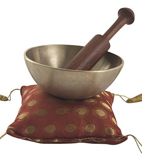 Klangschale mit Kissen + Klöppel im Set - Original aus Indien, Gewicht Klangschale 250g, Klöppel aus Teakholz