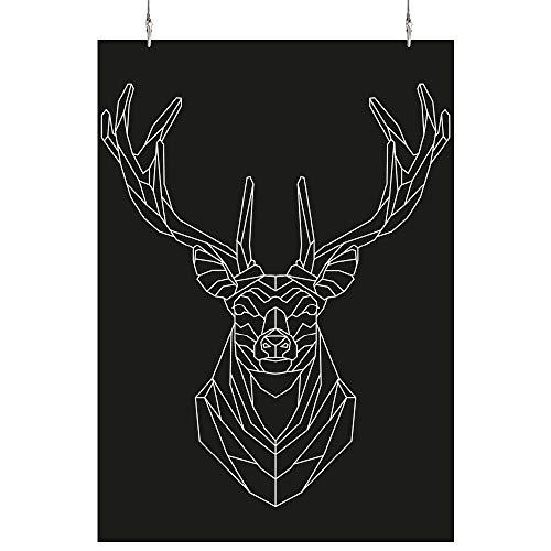 HAPPY FREAKS Poster 'Hirsch' - DIN A2 -Plakat ohne Rahmen - Bilder und Dekoration weiß-schwarz