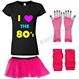 Blue Planet Fancy Dress ® Neon Pink I Love the 80s T Shirt, Fishnet Gloves, Legwarmers & Tutu (Medium UK 10-12)