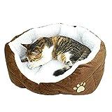 Westeng - Cuccia ovale da Cucciolo di Cane o Gatto, in pile morbido, 1 pezzo (marrone)