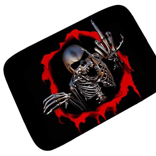 Missrui Fußmatte mit Totenkopf-Motiv, Halloween-Dekoration, Fußmatte, Fußmatte für den Innenbereich, Rutschfest, Black Skull, 19.7 * 31.4