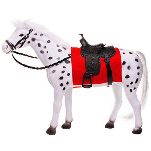alles-meine.de GmbH großes Pferd -  Schimmel - grau weiß - mit abnehmbaren Sattel  - 24 cm hoch - ideal auch für 29 cm Spielzeug Puppen / Pferde beflockt - weiches Fell - aus K.. -