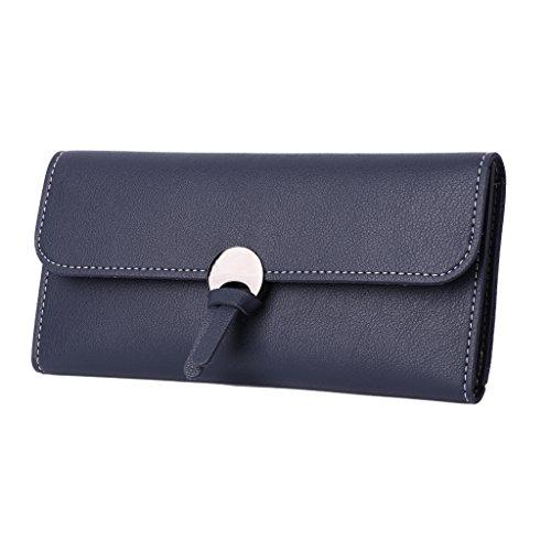 Dairyshop Borsa donna Portafoglio in pelle Donna Faux Long Designer Carte di Credito Holder Organizer (rosa) azzurro