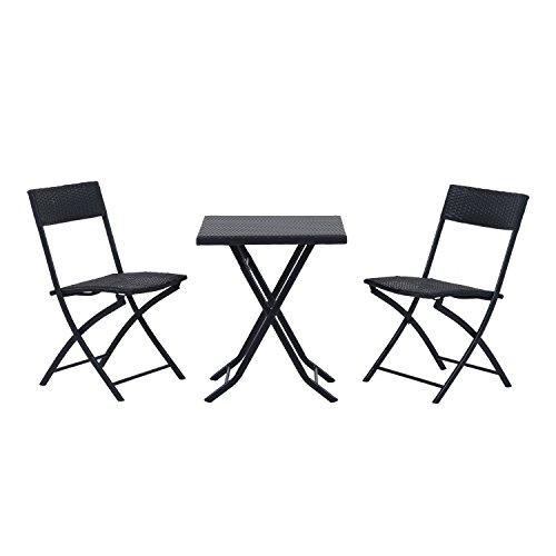 Outsunny Ensemble meubles de jardin design table carré et chaises pliables résine tressée 4 fils métal noir neuf 93