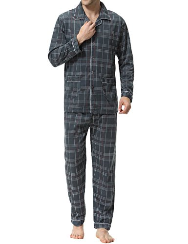 Aibrou Herren Baumwolle Pyjama Set, Winter Warm Langarm Zweiteiliger Schlafanzug Karierte Nachtwäsche Grau M (Grau Herren-nachtwäsche)