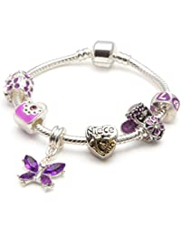Liberty Charms Niece Childrens 'Purple Fairy Dream' Silver Plated Charm Bead Bracelet. With Gift Box & Velvet Pouch. (Other Sizes Available)