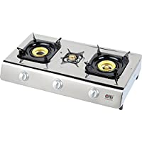 NJ NGB-300 Gas Stove 3 Burner Portable Stainless Steel Piezo Wok Camping Outdoor LPG 14