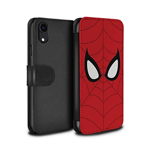 eSwish PU-Leder Hülle/Case/Tasche/Cover für Apple iPhone XR/Spider-Man Maske Inspiriert Muster/Superheld Comic-Kunst Kollektion (Marvel-comic-iphone Fälle 4)