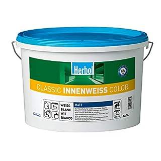 Herbol Classic Innenweiß Color Wandfarbe Innenfarbe Renovierungsfarbe, Weiß, 2, 5 L