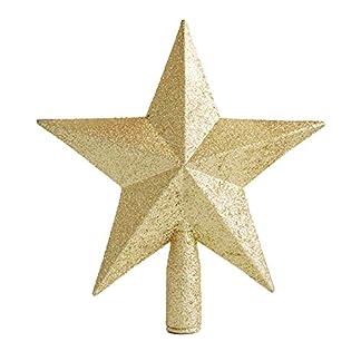 Poitwo Estrellas de árbol de Navidad Pentagrama Decoración Accesorios Adorno Topper para el hogar, Rojo, 15 cm
