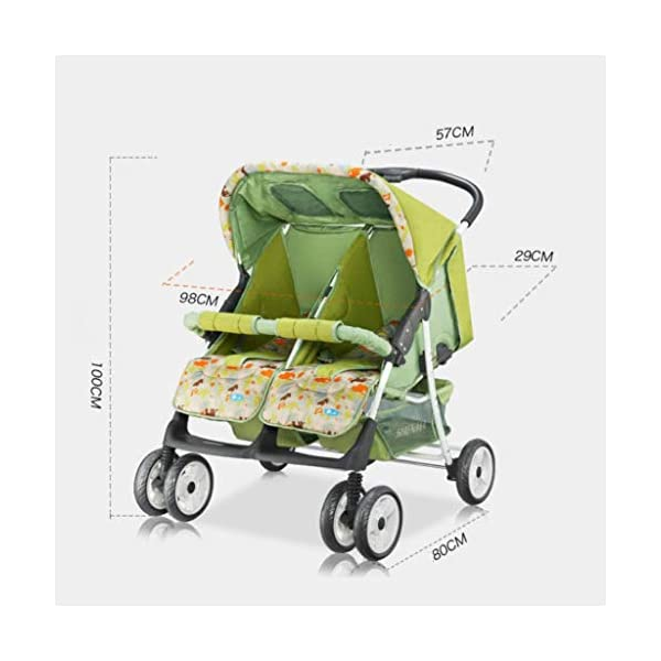 Baby Twin Stroller Buggy Pushchair- Double Stroller,Side by Side Double Pushchair, from Birth  With elliptical frame tubes in contemporary angles. Fully reclinable backrest using one hand easy adjust. Features elegant stay clean wheels with repeat logo details to match name seat graphic. 2