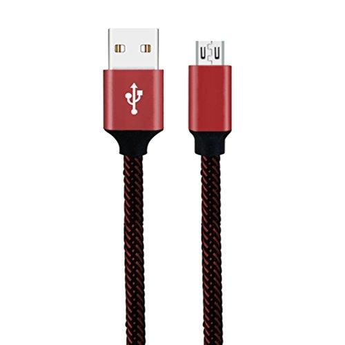 Micro USB Ladekabel,Huhu833 0,3 M Nylon Starke Geflochtene Seil USB-C Typ-C 3,1 Daten Sync Ladegerät Ladekabel für Android Smartphones, Samsung Galaxy, HTC, Huawei, Sony, Nexus, Nokia, Kindle und mehr (Rot) -