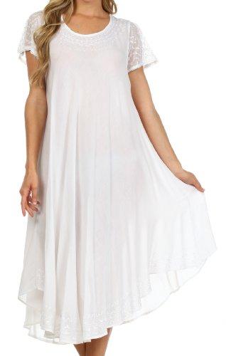 Sakkas 00931 täglichen Bedarfs Kappe Kaftan Kleid Hülse oder Vertuschung für Damen-Weiß-einer Größe (Kaftan Mit Stickerei)