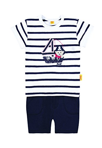 Steiff Collection Jungen, Bekleidungsset, Set 2tlg. T-Shirt 1/4 Arm + Short, Blau (marine 3032), 62