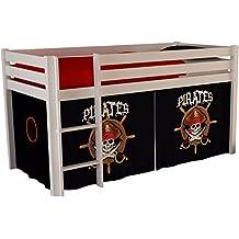 lit mi hauteur blanc 90x200 cm en pin massif avec une tente de jeu design - Lit Pirate
