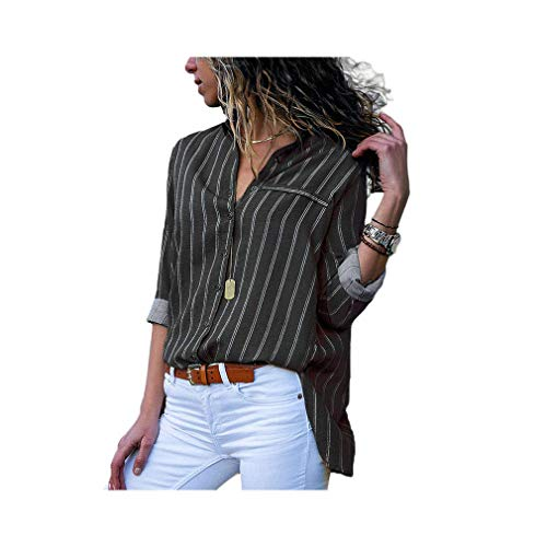 Women Long Sleeve Lapel Print Shirt Office Chiffon Blouse Casual Striped Tops Plus Size - Burnt Orange Damen Tank Top