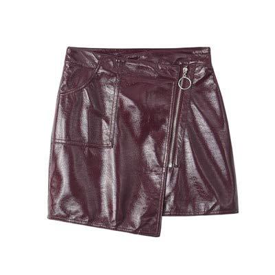 QBXDQ Kurzer Rock Pu Kurzen Rock Frauen Bodycon Schwarz Minirock Kette Streetwear Hohe Taille Bleistift Rock, Weinrot, M -