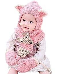 Boomly Bébé Hiver Bonnet + Echarpe + Gants Doux Épaissir Doux pour la peau  Bobble Hat Earflap Chapeaux Écharpe… 434bf801728