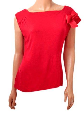 Top smanicato da donna con fiocco, misura 8,10,12,14,16,18 Spilla Rosso