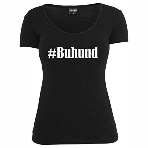 T-Shirt #Buhund Hashtag Raute für Damen Herren und Kinder ... in den Farben Schwarz und Weiss Schwarz