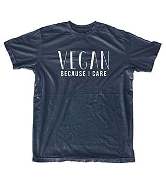 Teequote Vegan Because I Care Herren T-Shirt Marineblau Small