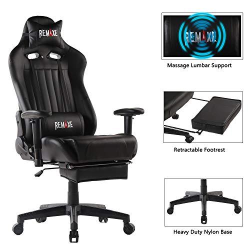 Computer Spielstuhl mit Fußstütze - Einstellbare Drehenende zum Haus Office Liegestuhl mit Hohen Rücken Kopfstütze und Taille-Massage Unterstützung Lehnstuhl(Schwarz)