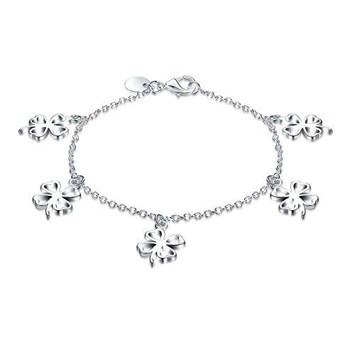 Gnzoe Damen Herren Damenarmband Armband Edelstahl Charme Armschmuck Hohl Herz  Blumen Silber Länge 7.8 Zoll 35969ec70f