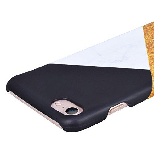 Coque iPhone 8 Plus,GrandEver Marbre Marble Motif Design Housse Rigide Plastique Arrière Dur Hard Dure Dessein Spécial de Protection Anti Choc Fashion Cover Case pour iPhone 8 Plus --- Mélanger Couleu Noir + Blanche + Jaune