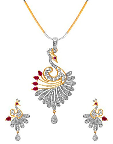 Zeneme Peacock Desing American Diamond Gold Plated Pendant Set With Earring For Girls / Women …