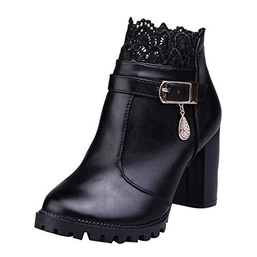 Toasye Mode Wilde Spitze Schwarze Damenstiefel Chelsea Boots Herbst Winter Warm Gefütterte Winterschuhe Wilde Schuhe Reißverschluss Spitze Schlauch Plüsch Stiefel -