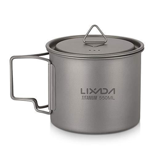 Lixada Titanium Cup Tragbare Wasser Tasse Becher für Camping Picknick mit Faltbaren Griff 300 ml / 350 ml / 550 ml / 650 ml Camping-tasse