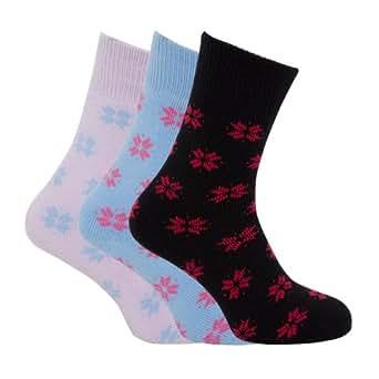 Ladies/Womens Brushed Inside Thermal Socks, Snowflake Design (Pack of 3) (UK 4-8 EURO 34-38) (Assorted)