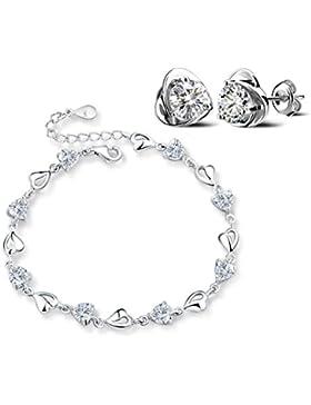 Forfamily Armband mit Herz-Gliedern in Silber und aus Zirkonia verstellbar tolles Geschenk erhältlich in Lila,...