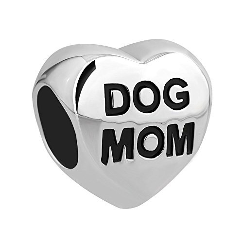 Uniqueen dog paw print heart beads charm per braccialetti e rame, cod. dj_dpc_my776